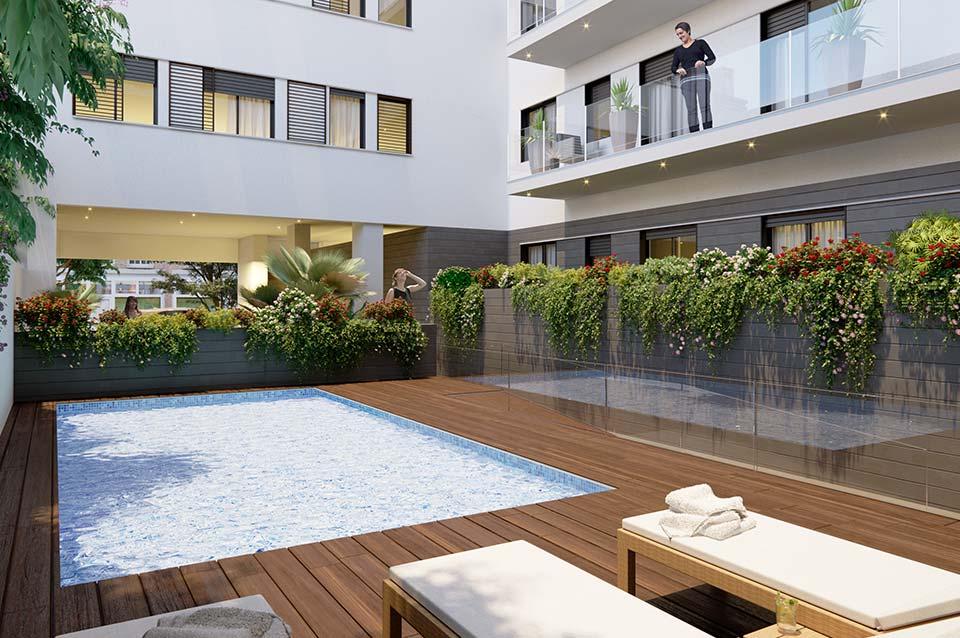 Promoción Inmobiliaria ABU Capuchinos (Sevilla) - Vista piscina comunitaria