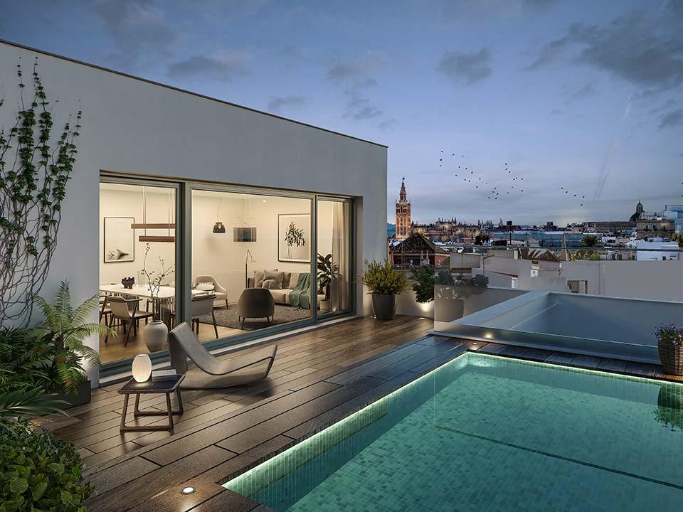 Pisos con terraza y piscina en Sevilla
