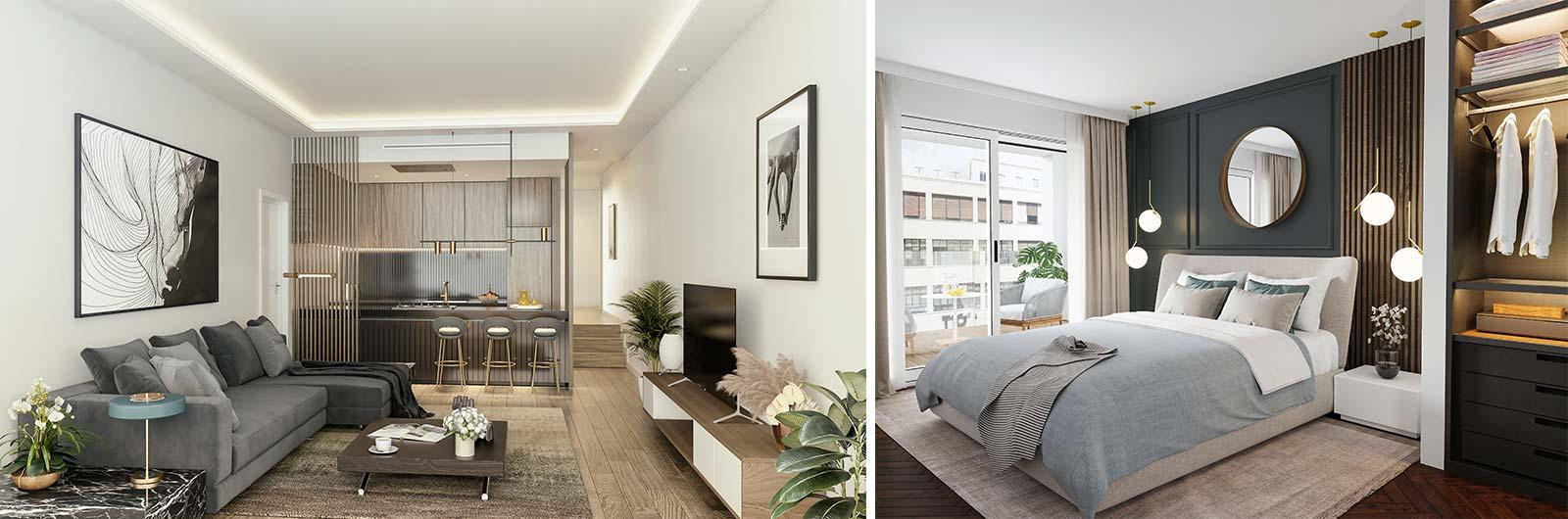 Imágenes de interiores de los apartamentos del Centro de Sevilla
