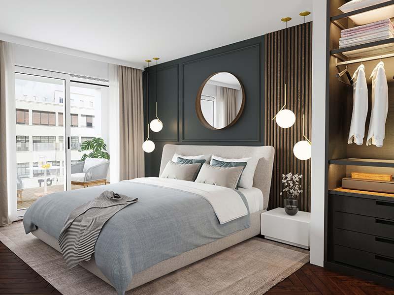 Imagen del dormitorio de los apartamentos en Plaza de La Magdalena