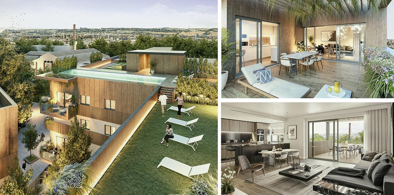 Imágenes de la fase 2 de la promoción de pisos en la Fábrica de Vidrios de Sevilla - Carretera Carmona