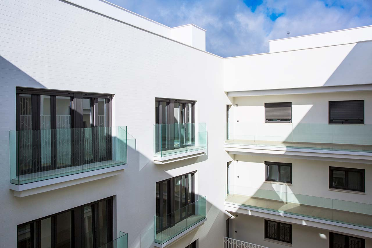 Patio central de la promoción de obra nueva en Santa Clara - Sevilla Centro