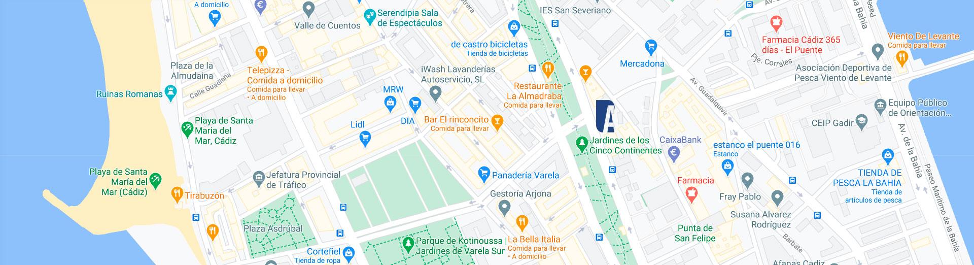 Localización de las viviendas en venta de Cádiz Capital