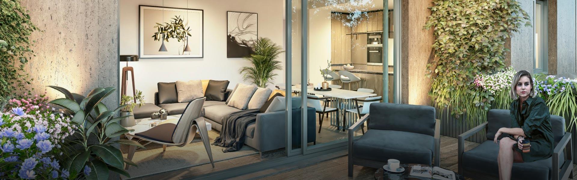 Terrazas con encanto en las viviendas del residencial Fábrica de Vidrios