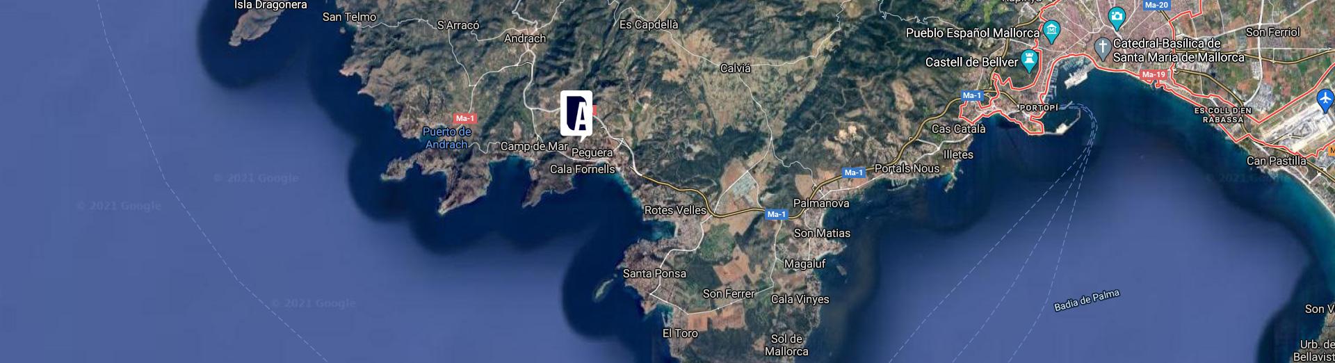 Localización de las villas de lujo de Mallorca de Grupo ABU