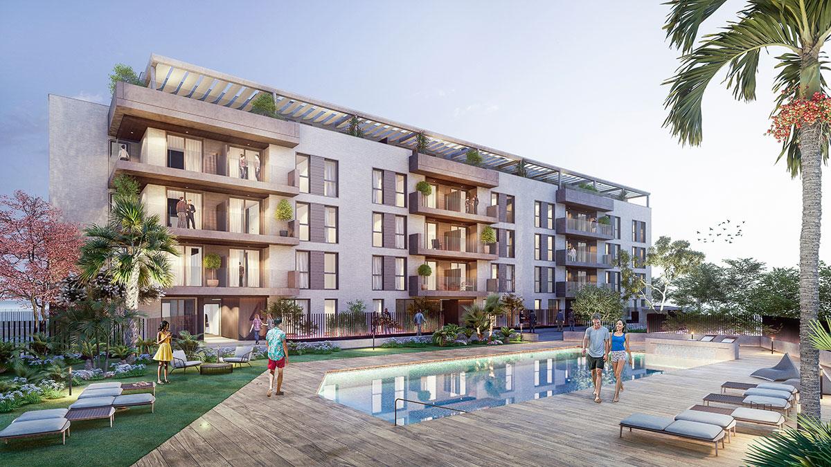 Promoción de obra nueva en Tomares con viviendas personalizadas, piscina comunitaria y zonas verdes