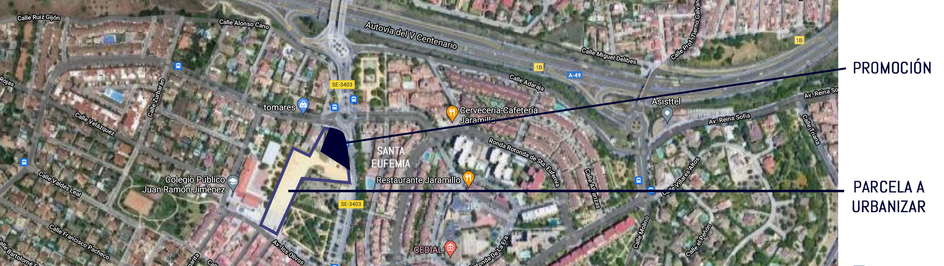 Mapa de la promoción de viviendas de obra nueva en Tomares