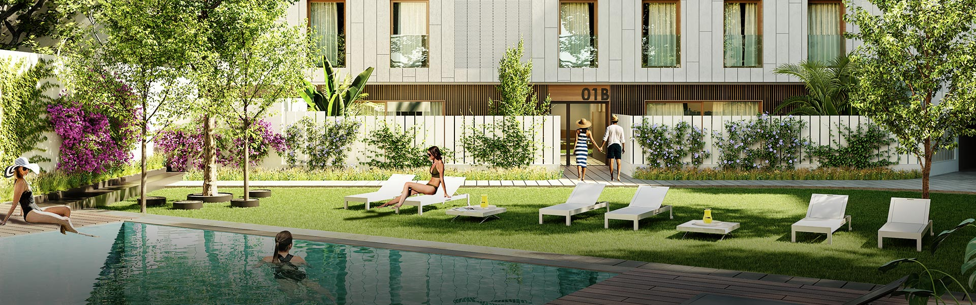 Promoción de obra nueva en Cádiz con piscina comunitaria y jardines