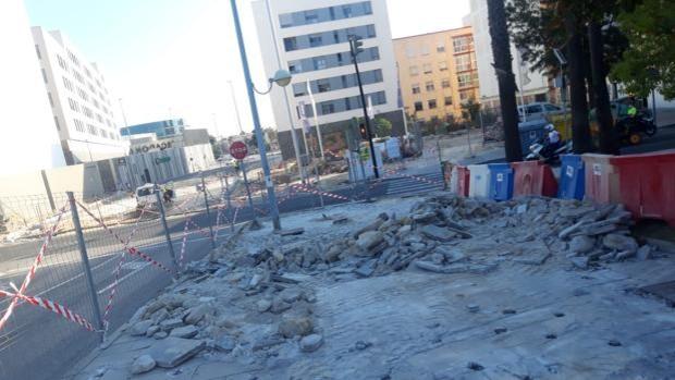 Obras en la trasversal de Cádiz